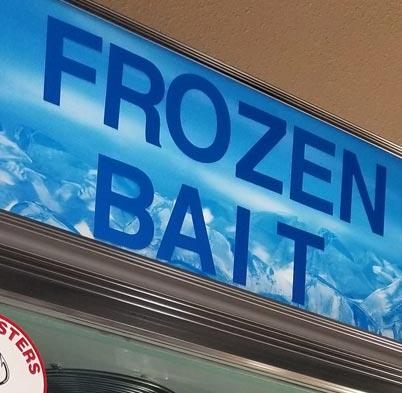 Frozen Bait sign