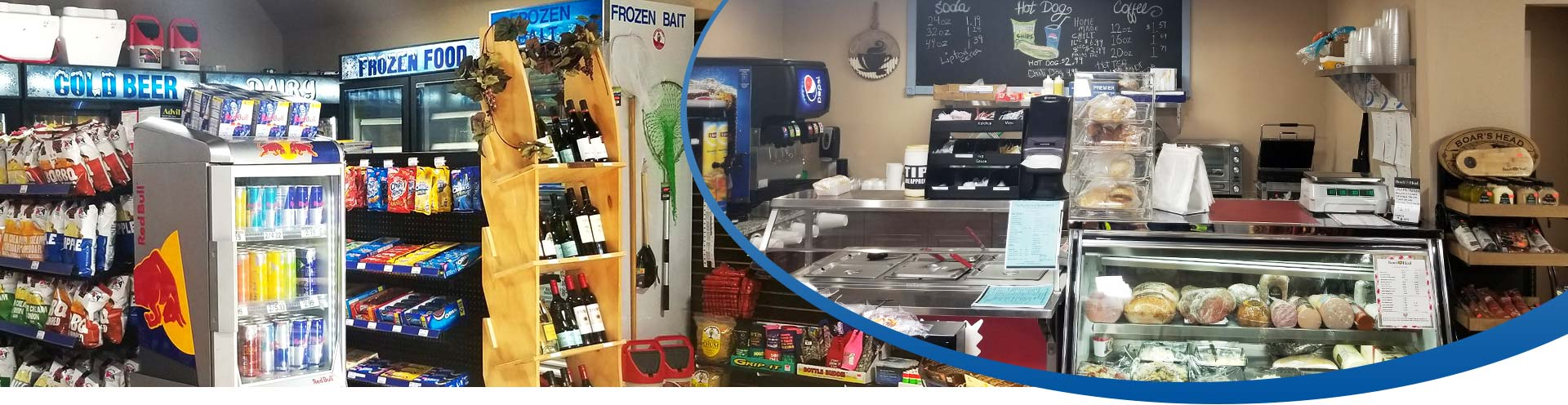 two photos of the store interior, products and deli counter